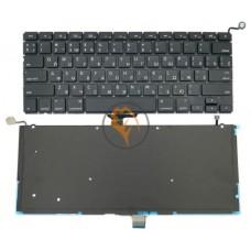 Клавиатура для ноутбука Apple MacBook Pro A1278 горизонтальный enter, с подсветкой, черная RU