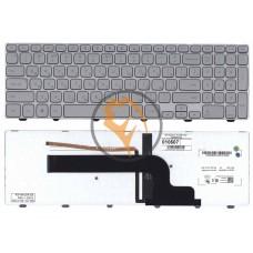 Клавиатура для ноутбука Dell Inspiron 15-7000 7537 с подсветкой, серебристая рамка, серебристая RU