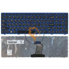 Клавиатура для ноутбука Lenovo IdeaPad B570 V570 Z570 Z575 синяя рамка, черная RU