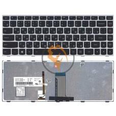 Клавиатура для ноутбука Lenovo IdeaPad FLex 14 с подсветкой, серебристая рамка, черная RU