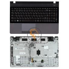 Клавиатура для ноутбука Samsung 300E5A черная с топ панелью, серая RU