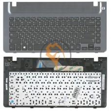 Клавиатура для ноутбука Samsung 355V4C-S01 черная с топ панелью, серая RU