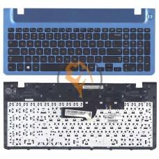 Клавиатура для ноутбука Samsung 355V5C черная с топ панелью, синяя RU