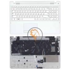 Клавиатура для ноутбука Samsung 370R4E белая с топ панелью, белая RU