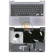 Клавиатура для ноутбука Samsung 535U4C черная с топ панелью, серая RU