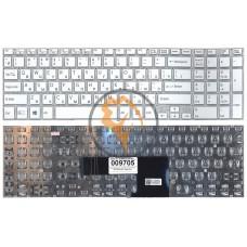 Клавиатура для ноутбука Sony FIT 15 SVF15 с подсветкой, без рамки, белая RU