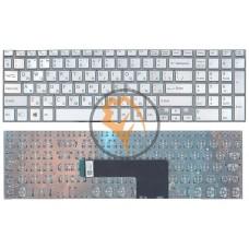 Клавиатура для ноутбука Sony SF510 с подсветкой, без рамки, серебристая RU