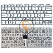 Клавиатура для ноутбука Sony SVE14A белая с подсветкой, без рамки, RU