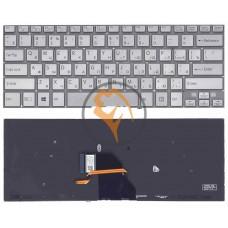 Клавиатура для ноутбука Sony SVF14N FIT с подсветкой, без рамки, серебристая RU