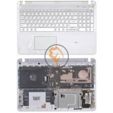Клавиатура для ноутбука Sony FIT 15 SVF15 белая с топ панелью, белая RU