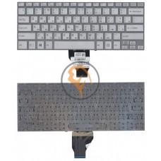 Клавиатура для ноутбука Sony Vaio Fit 14E с подсветкой, без рамки, серебристая RU