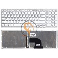 Клавиатура для ноутбука Sony Vaio SVE15 с подсветкой, белая рамка, белая RU