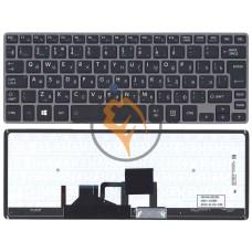 Клавиатура для ноутбука Toshiba Portege Z30 с подсветкой, серая рамка, черная RU