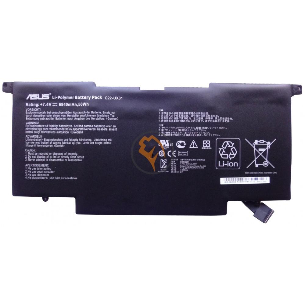 Оригинальная аккумуляторная батарея Asus C22-UX31 6840mAhr